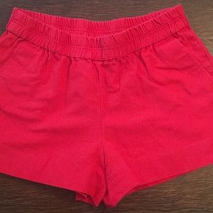 J. Crew red cotton shorts elastic waist size 4